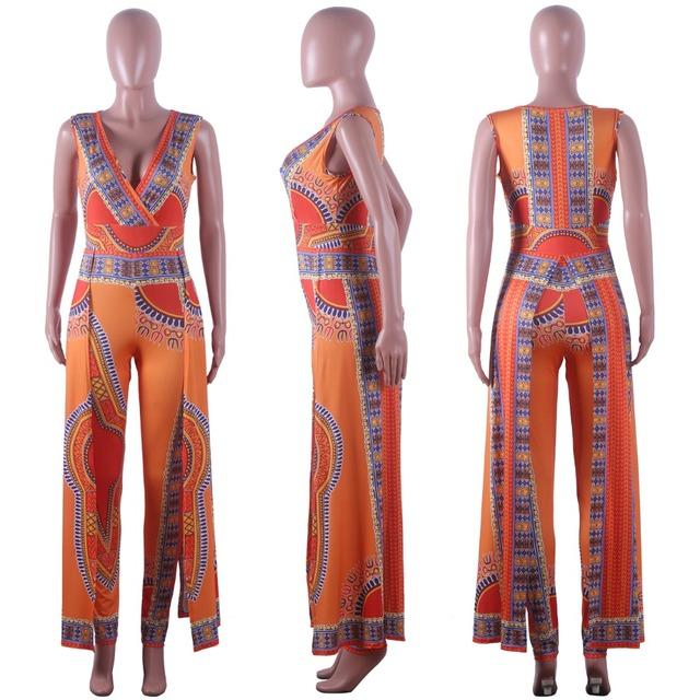Women Sexy African Print Romper