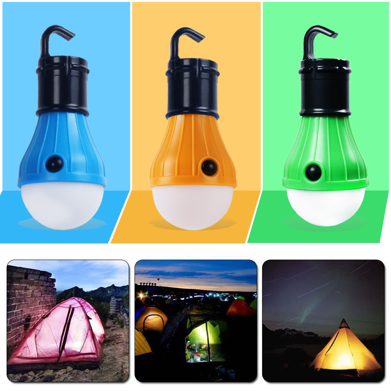 Portable Outdoor Camping Fishing Lights 3 LED Dimmable Outdoor Tent Lamp Campsite Hanging Lamp Bulb Energy-saving V8 Bulb