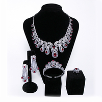 Nigerian Wedding African Bridal Jewelry Sets Engagement Luxury Party Romantic Cubic Zirconia Necklace+Earring+Bangle Ring Set
