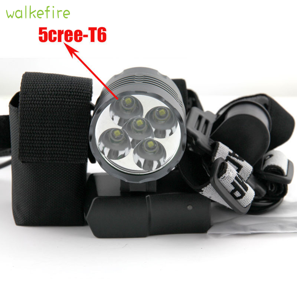 Walkfire XML 5x T6 <font><b>Bicycle</b></font> <font><b>Light</b></font> Headlight <font><b>7000</b></font> <font><b>Lumen</b></font> LED Bike Lamp Headlamp Cycling Front <font><b>Light</b></font> + 8.4V Charger + Battery Pack image