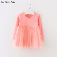 Sun Moon Kids Full Sleeve Baby Dress 2017 Cotton 1 Year Birthday Dress Casual Solid Baby Girl Clothes Draped Princes Ball Gown