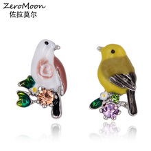 ZeroMoon Cute Bird Stud Earrings For Women Crystal Rhinestone Statement Metal Trendy Fashion Jewelry Accessory 2017