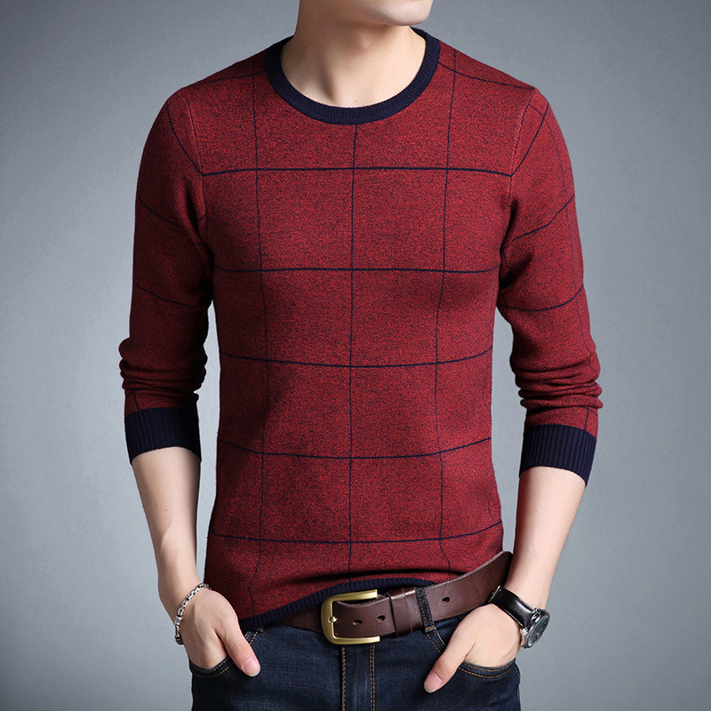 Men's Sweater Pullovers Slim-Fit O-Neck Homme Knittwear Autumn Striped Casual M-3XL