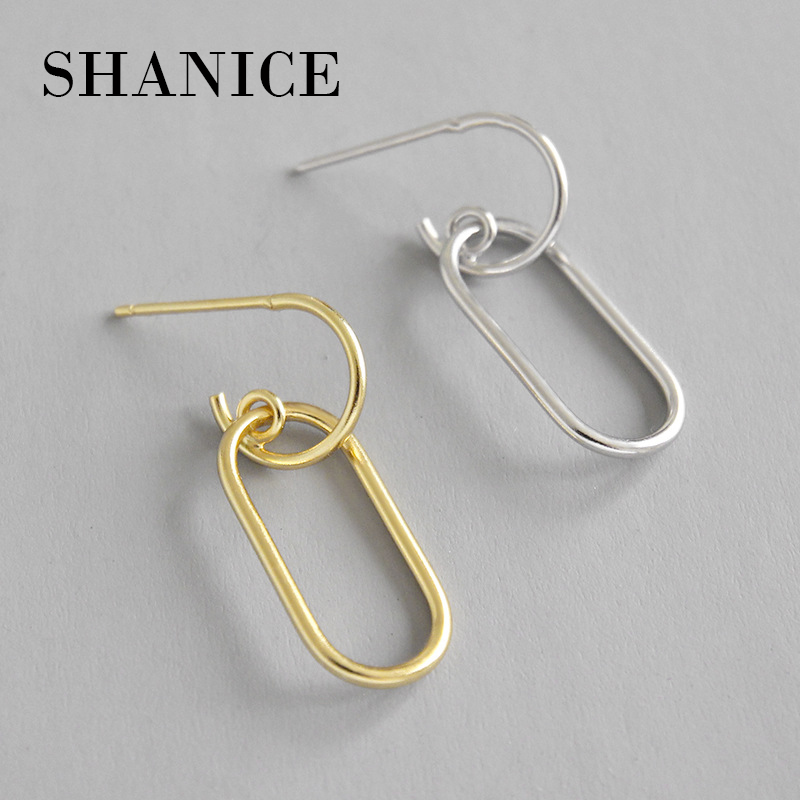 SHANICE 925 Sterling Silver Gold Color INS Geometric Minimalist Chain Earrings For Women Girl Statement High Street Punk Jewelry
