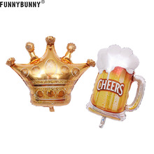 FUNNYBUNNY Gold Crown Beer Cup Foil Balloon Wedding Celebration Birthday Party Home Decor кофемолка василиса ва 400 black