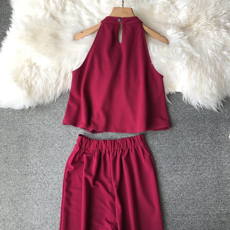 HTB1sZwFVxjaK1RjSZFAq6zdLFXa6 - two piece set women fashion sexy short top and long pants casual sleeveless Elastic high waist female summer festival clothing