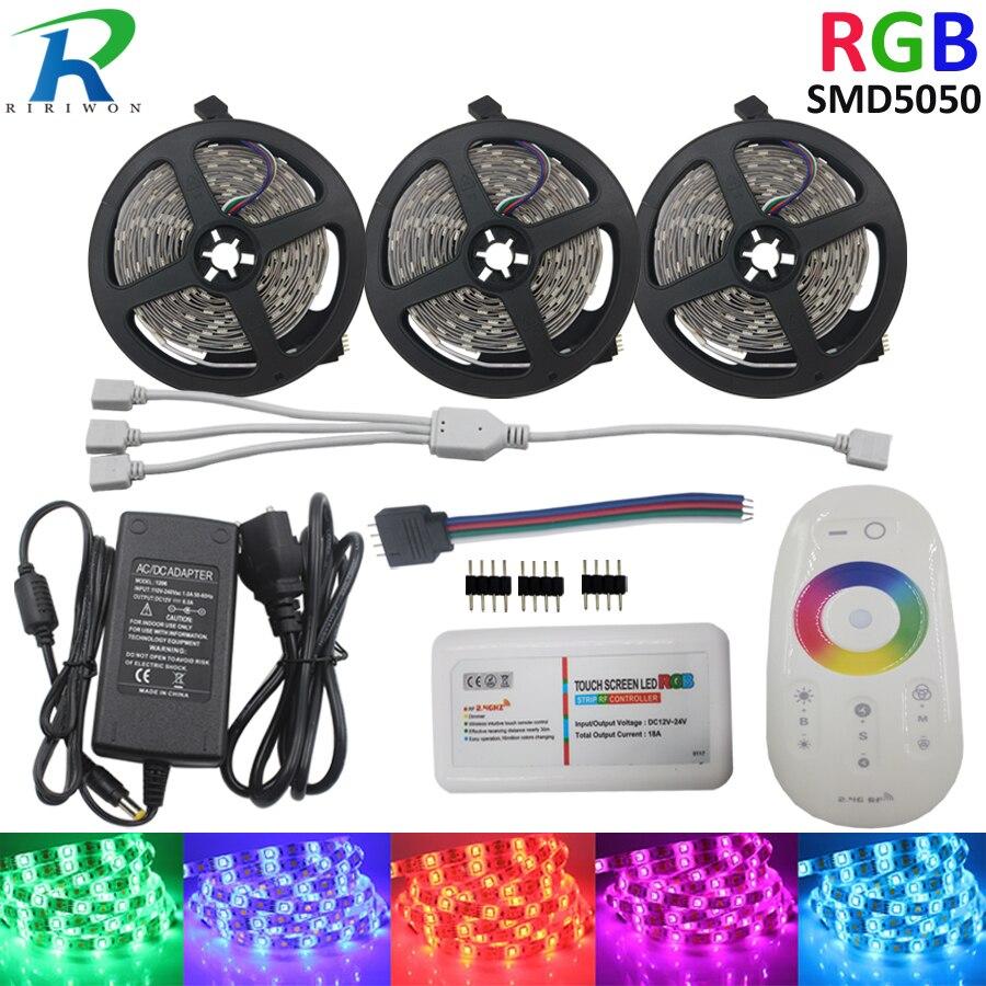 LED bande lumière 12 V 15 M SMD 5050 bande Diode bande RGB couleur 30 LED s/M ruban LED lumières flexibles RF contrôleur tactile adaptateur 6A