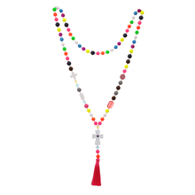 Ethnic Antique Sweater Cross Pendant Statement Necklace Women Colorful Beads Strand Long Tassel Bohemian Jewelry Dropshipping недорого