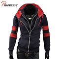 Patchwork Double Deck Design Men Hoodies Assassins Creed Sweatshirt Casual Street Style Cardigan Fashion Man Tracksuit