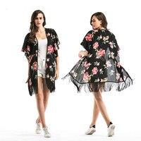 Floral Chiffon Shirtblouse 2018 Spring Beach Coat Fringed Shawl