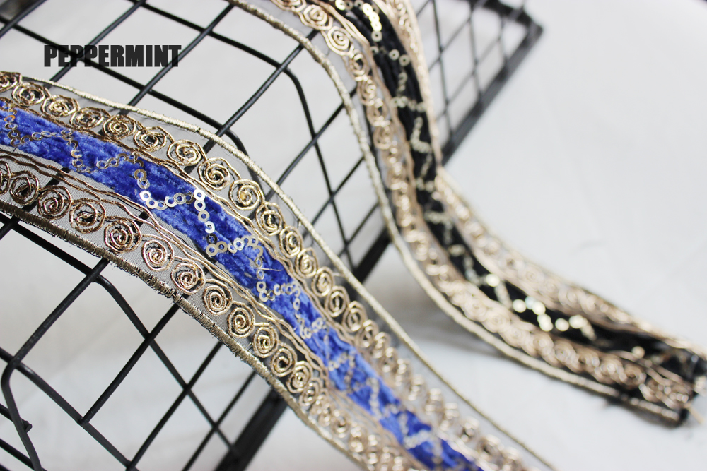 1yard 4cm Indian Sequid Trim DIY Shoes Bag Accessories Embroidered Lace Trim Women's Clothing Decorations