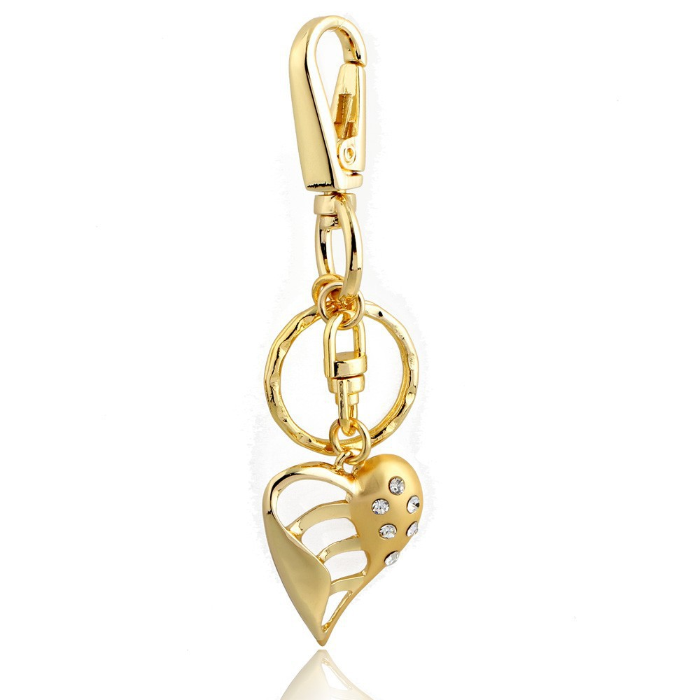 hot sale gold color high quality key rings crystal heart ...