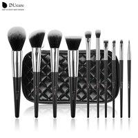 DUcare кисти для макияжа 10 шт. профессиональный современный макияж кисти высокого качества набор кистей с черной сумкой красивые эфирные кист...
