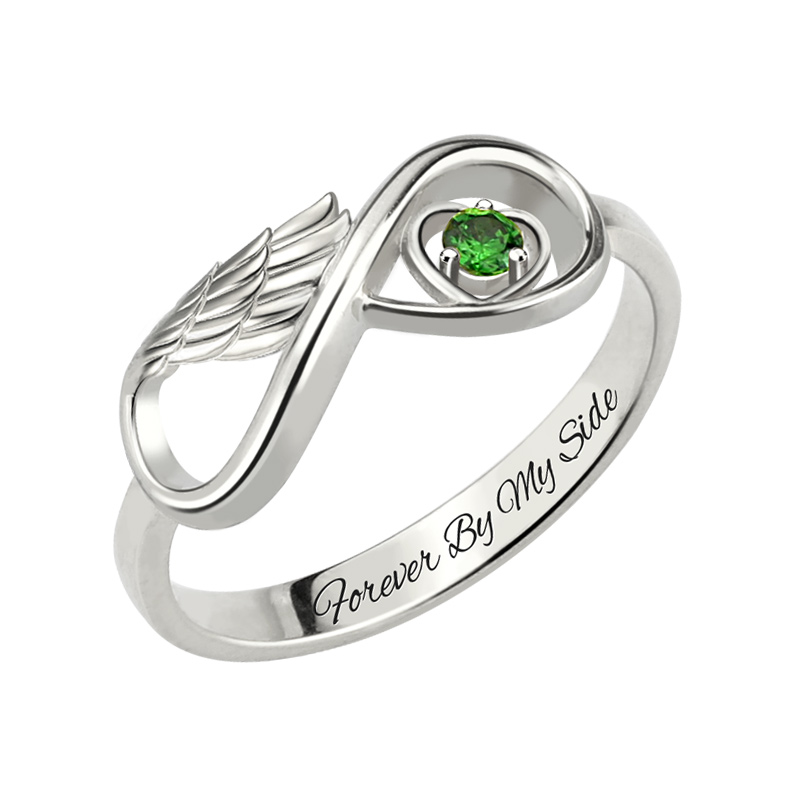 AILIN White Gold Color Angel Wing Ring Inifnity Symbol Engraved Name Ring Birthstone Jewelry