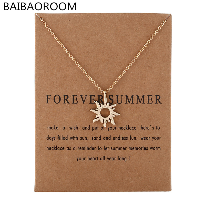 New Arrived Fashion Jewelry Silver Color Forever Summer Sun Chocker Necklace Pendant For Women Girl