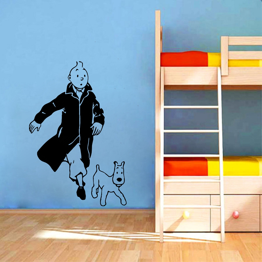 Tintin with dog cartoon vinyl wall sticker children 39 s room for Decal wall art mural