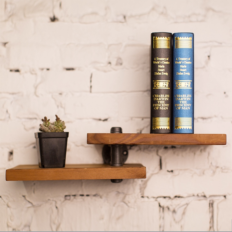 Find Joy Industrial Pipe Rack Holder Fit for Study / Balcony Industry Style Metal Pipe Art Exhibition Wood Wall Shelf FJ040307 табличка для торговой марки innovation in wood industry