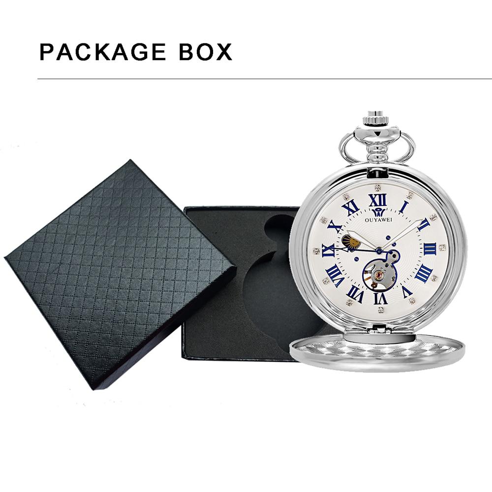 Relógios de Bolso Mecânicos para Homens Relógio de Sol com Colar de Fase Corrente de Relógio de Bolso Pingente de Presente para Homens Esqueleto Homem Lua