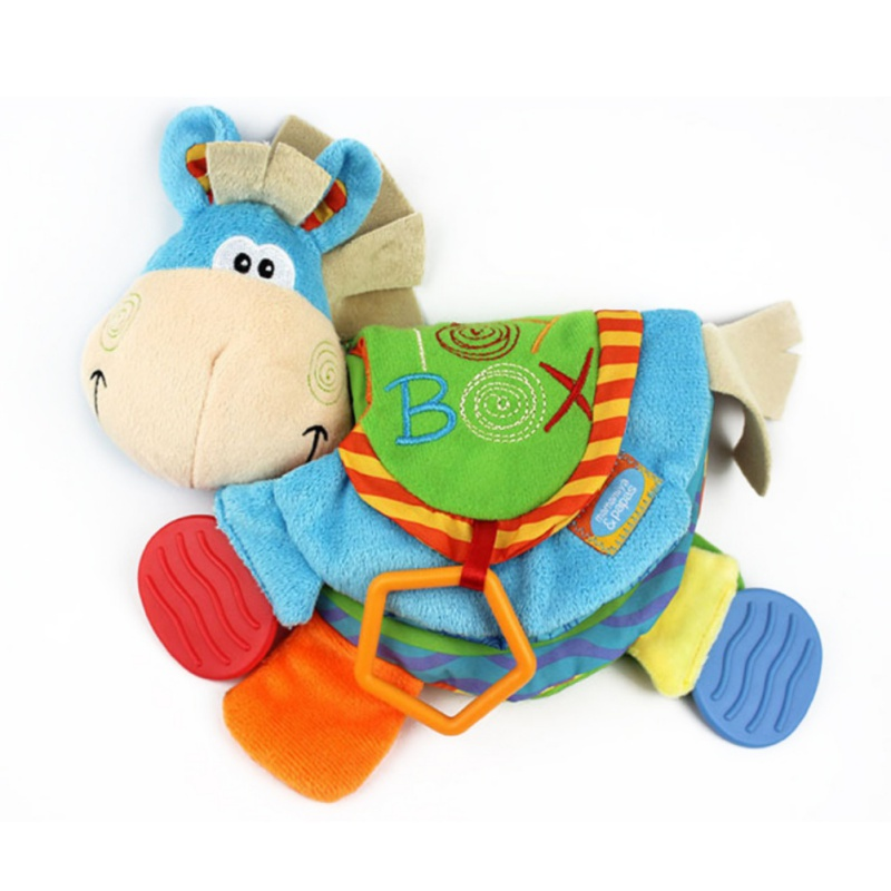 Newborn Baby Soft Rattles Teether Toy Cute Donkey Animal Cloth Book For Toddlers Learning Early Education Toys Christmas Gift