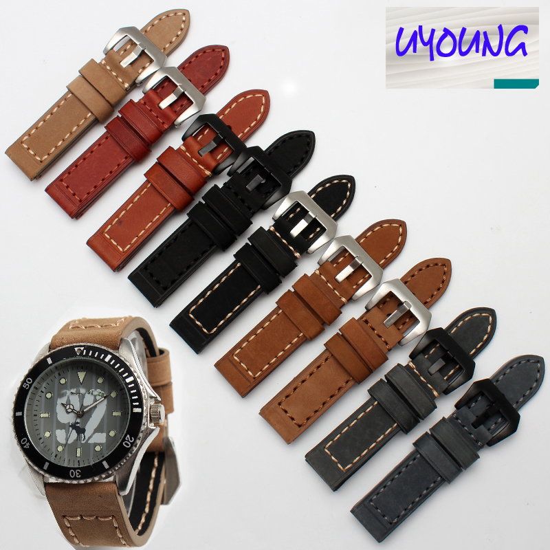 Handmade Thicker Leather smooth Dark Brown Watch band Strap 20mm 22mm 24mm 26mm Bracelets For Mechanical watch military watches eache 20mm 22mm 24mm 26mm genuine leather watch band crazy horse leather strap for p watch hand made with black buckles