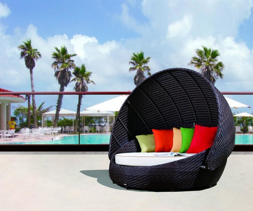 Patio furniture And Outdoor furniture sun Daybe for high rollers - Giantex Outdoor Patio Sofa Furniture Round Retractable Canopy Daybed