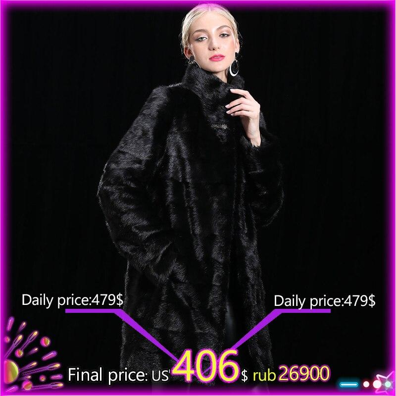 XINYUXIANG 2018 настроить реального норки Мех животных пальто для будущих мам для женщин зимние модные толстые теплая верхняя одежда черны