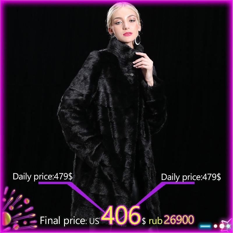 XINYUXIANG 2018 Personalizza Reale del Visone Cappotti di pelliccia Delle Donne di Modo di Inverno Caldo di Spessore Outwear nero Femminile Naturale Della Pelliccia del visone Lunga giacche