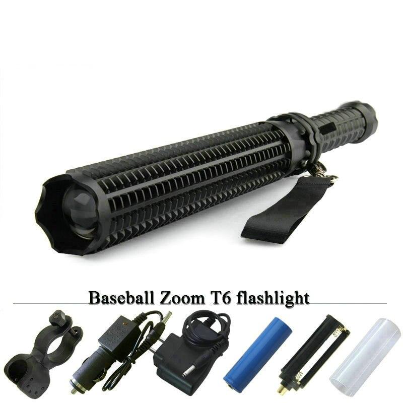 Baseball Bat led taschenlampe leistungsstarke teleskop baton lanterna cree xml t6 taktische taschenlampe selbstverteidigung flash licht 18650 ODER AAA