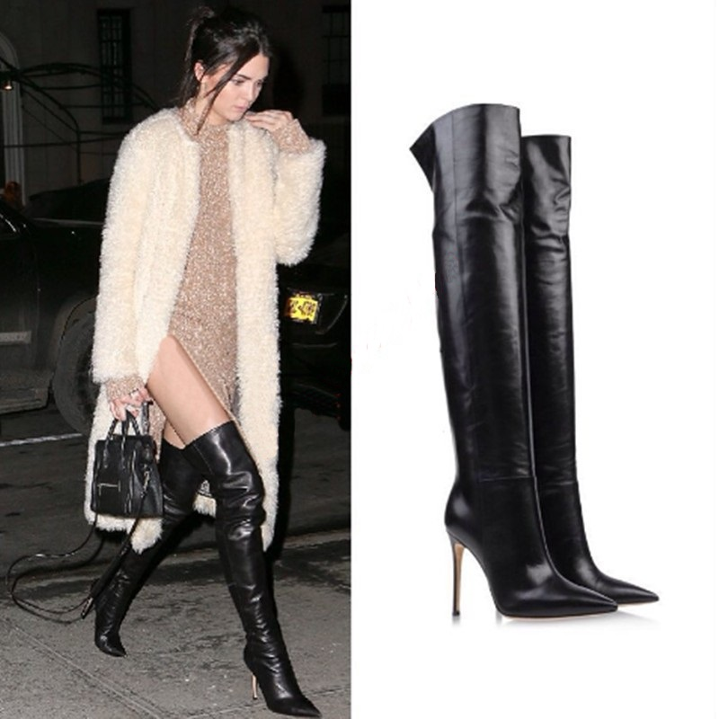Celebrity Black Soft Leather Stiletto High Heels Over The Knee Boots Pointy Long Boots 2018 Women Shoes Pointed Toe Women Boots цена 2017
