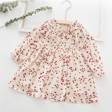 2019 New Spring Autumn Girls Dress Love Flower Print Long Sleeve Cute Princess Dress For Girl Cotton Birthday Party Kids Dresses girls dress new autumn england style girls clothes teenager long sleeve forest flower print princess dress kids dresses 5 12y
