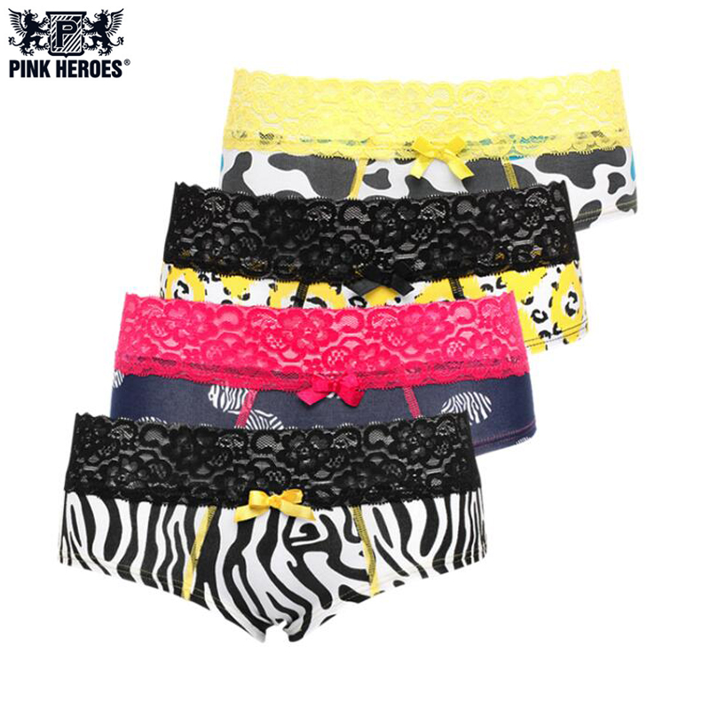 PINK HEROES 4pcs /lot Women underwear Panties Cotton Sexy Leopard Women Lingerie Lace Belt Triangle Underwear Panties Cueca 609E