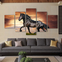 QKART 5 Panels Black stallion Horse Canvas Art Wall Pictures for Living Room Office Hotel Home Decor Flower No Frame Animal