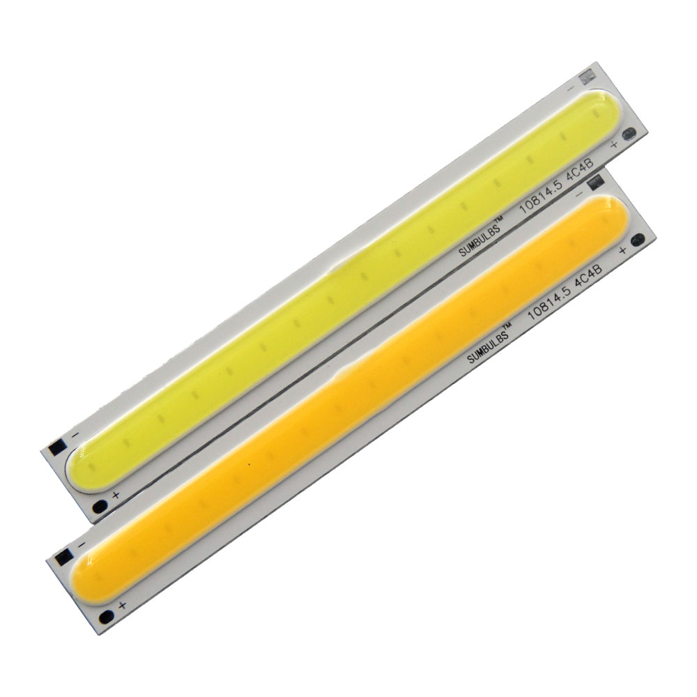 5pcs DC 12V 4W Strip COB LED Bulb 108x15MM Rectangular Light Source for DIY Car Bycycle Desk House Lamp 500LM Yellow White Color