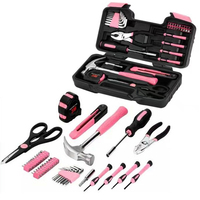 Pink 40pcs Tool Set Household Hand Tool Car Maintenance Tools Kit With Plastic Toolbox Storage Case