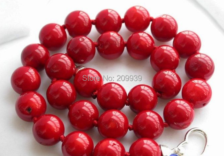 huij 002771 REAL 18 14MM NATUREL RED CORAL BEAD NECKLACEhuij 002771 REAL 18 14MM NATUREL RED CORAL BEAD NECKLACE
