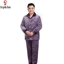 8b2ff7ca89 Men s Pajama Winter Thick Warm Padded Clothing Winter Pajamas Suits Grid  Nighty For Middle Aged Men Night Wear Clothes JW314