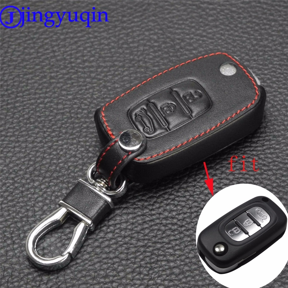 jingyuqin 10ps Remote 3 Buttons Car key Leather Case Fob Cover For LADA Sedan Largus Kalina