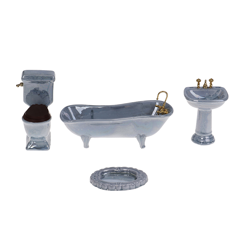 One Set 1:12 Dollhouse Miniature Blue Porcelain Bathroom Set Toilet Basin Bathtub Furniture Toys
