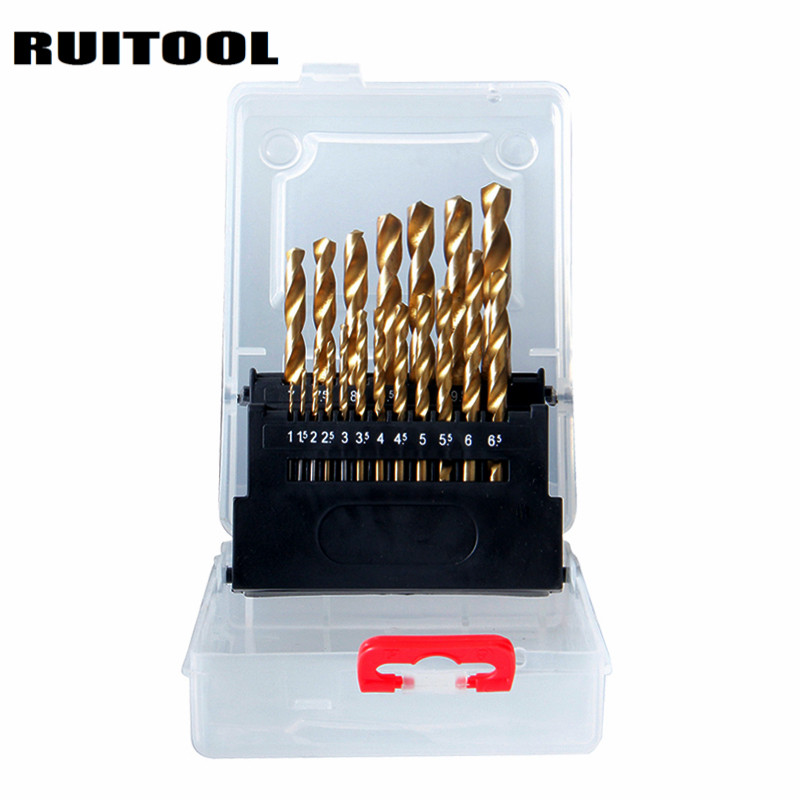 RUITOOL 19PCS Electric Drill HSS Wood Drill 1-10mm Twist Drill Bit Set Metal Drill Woodworking Tools evanx 1 10mm wood drill twist drill bit set hss drill bits for metal electric drill woodworking tools 19pcs page 1
