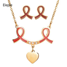 Eleple Titanium Steel Red Ribbon Love Pendant Necklace EarNail Set Women Fashion Party Fascinating Jewelry Sets Wholesale S-S057 цена и фото