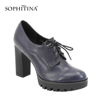 SOPHITINA Genuine Leather Lady Platform Pumps Dark Blue Sheepskin Lace up High Square Heel Women Shoes Round Toe Handmade D59