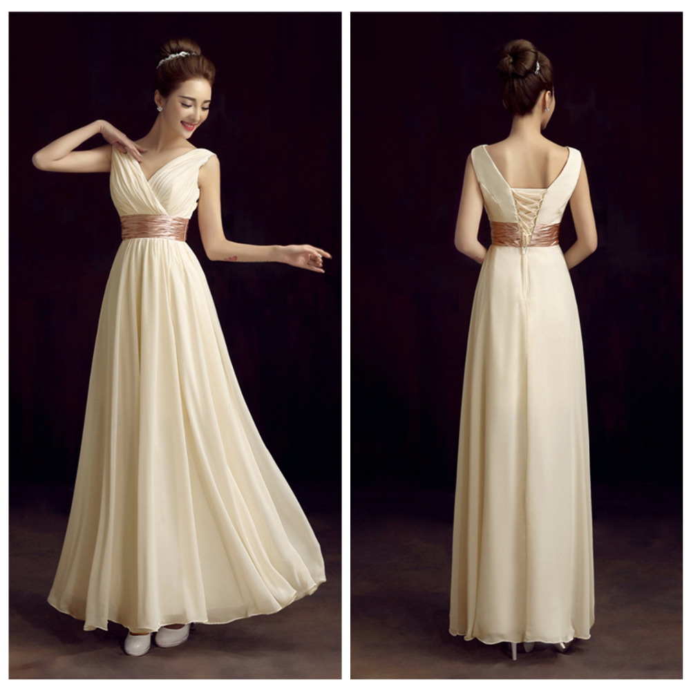 robe demoiselle d'honneur 2018 new V-neck Chiffon A-Line Floor-Length elegant champagne, red cheap   bridesmaid     dresses   under 50