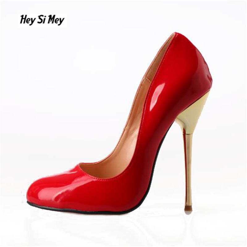 HSM Sexy 14cm metal thin <font><b>heels</b></font> zapatos mujer Pointed Toe Pumps Ladies Party Wedding Stilettos woman shoes Plus US 9-16 17 <font><b>18</b></font> 19 image