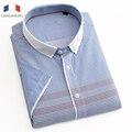 Langmeng 100% хлопок летом социальные рубашки высокого качества мужская с коротким рукавом рубашки повседневные топы платье camisa masculina размер XS-3XL