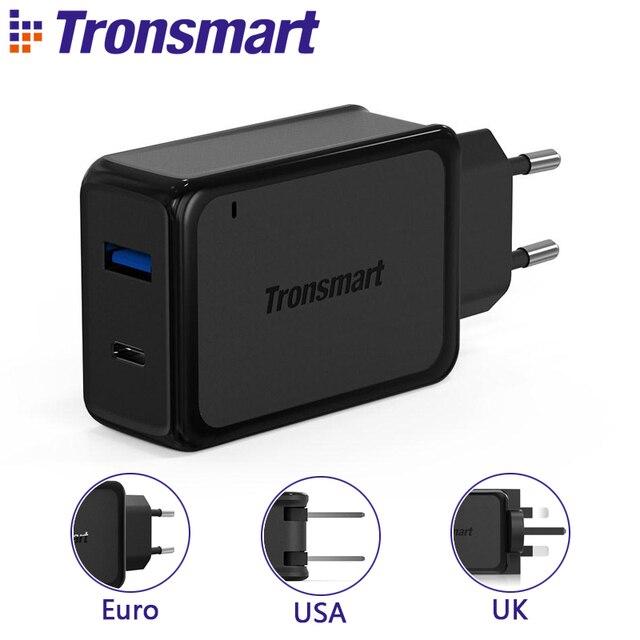 [2 Portas] tronsmart w2ptu quick charge 3.0 carregador usb com usb tipo c para xiaomi para lg g5 telefone rápido carregador adaptador ue eua REINO UNIDO