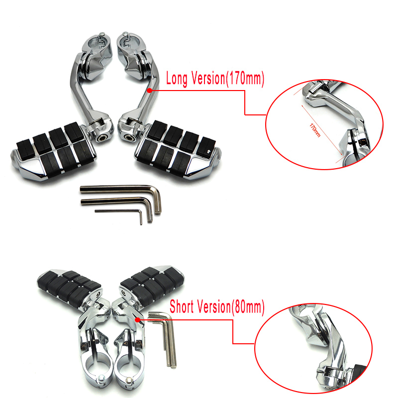 32mm (1-14)(1.25) Motorcycles Foot Pegs Long & Short Highway Clamps For Touring Electra Road King Street Glide for Honda New (10)
