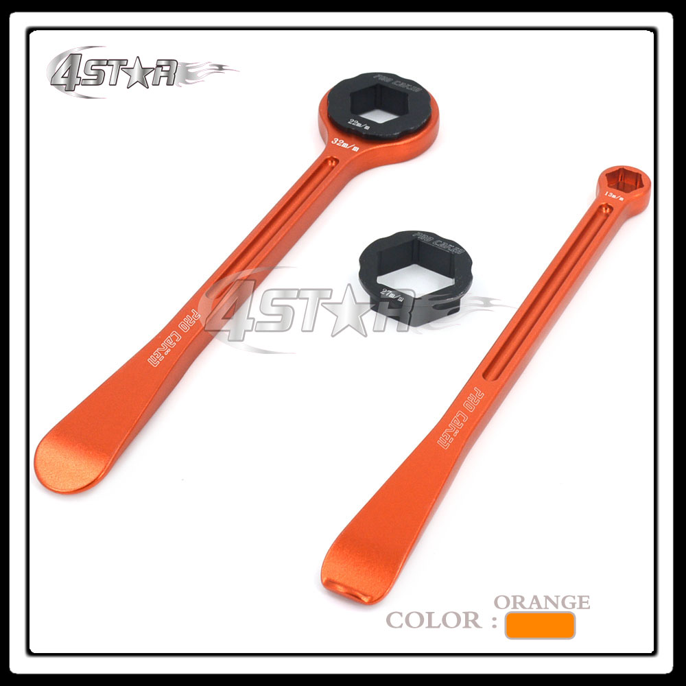Orange Tyre Changing Kit 2 x Raceline Levers Hex Wrench Spanner 10mm 13mm 22mm 27mm 32mm Head For KTM SX SXF EXC European Bike 3 8 10mm chrome vanadium ratchet wrench 3 8 spanner socket set crv extend handle