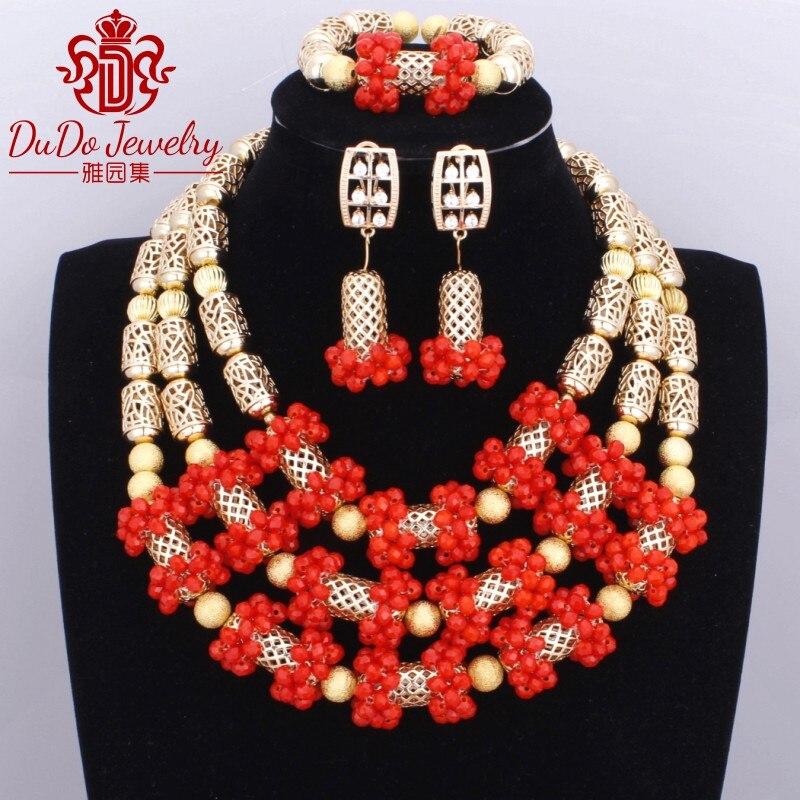 Здесь продается  Coral Beads Necklace African Wedding Nigerian Jewelry For Women Set of Beads Trend Red Copper Jewellery Accessories Set 2017  Ювелирные изделия и часы