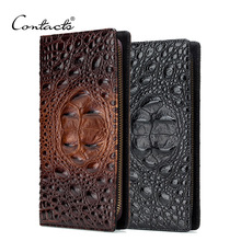 CONTACT'S Genuine Leather Men Clutch Wallets Alligator Long Design Hand Bgas With Card Holder Zipper Wallet High Quality Clutch