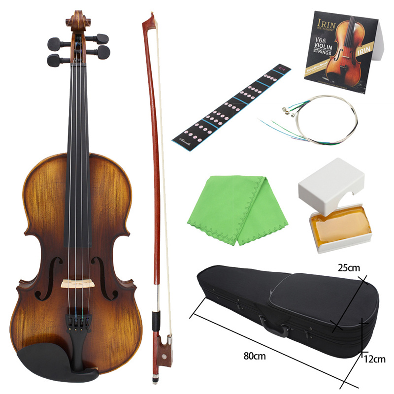 AV-508 4/4 Full Size Acoustic Violin Fiddle Kit Solid Wood Matte Finish Ebony Face Board 4-String Instrument 7 PCS/Set With Case